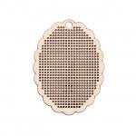 Pendentif en bois à broder - ovale festonné - 6 x 8 cm