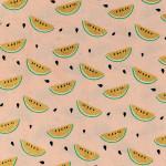 Coupon de tissu - Quartiers de pastèques - rose / or - 50 x 140 cm