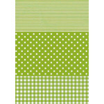 Feuille Décopatch - Rayures et pois vert - 30 x 40 cm