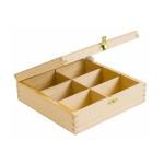 Boîte à Thé 6 compartiments en bois - 21 x 8,5 x 21 cm
