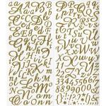 Alphabet Stickers pailletés - Or