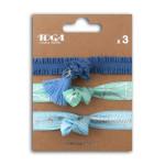 Bracelet élastiques 20 cm Bleu 3 pcs