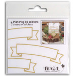 Autocollant Bannière or mat 2 planches 10 x 10 cm