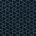 Papier Lokta Imprimé 50 x 75 cm Indigo motif Triangle Sankakkei
